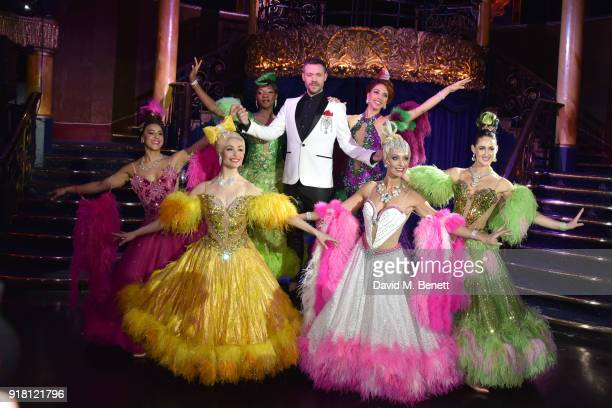 Will Young and cast pose at a photocall for 'Strictly Ballroom The Musical' at Cafe de Paris on February 14 2018 in London England