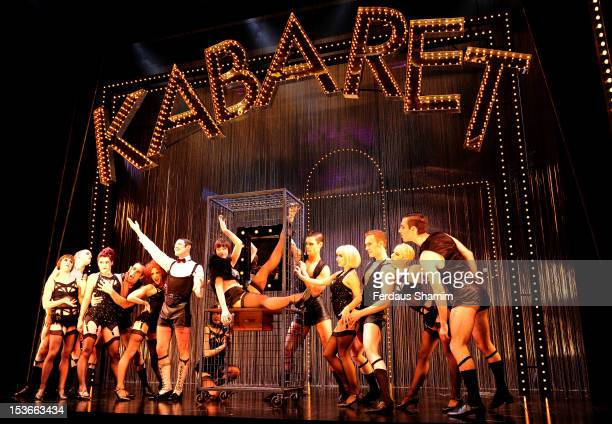Will Young as Emcee and Ensemble Michelle Ryan as Sally Bowles and cast of Cabaret perform during a photocall for 'Cabaret' at The Savoy Theatre on...