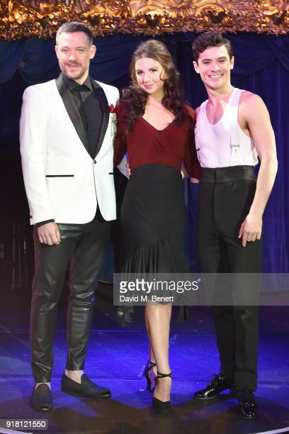 Will Young Zizi Strallen and Jonny Labey pose at a photocall for 'Strictly Ballroom The Musical' at Cafe de Paris on February 14 2018 in London...