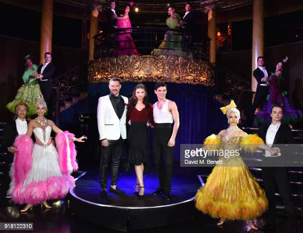 Will Young Zizi Strallen Jonny Labey pose at a photocall for 'Strictly Ballroom The Musical' at Cafe de Paris on February 14 2018 in London England