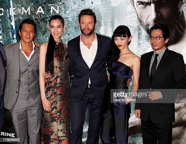 Will Yun Lee Tao Okamoto Hugh Jackman Rila Fukushima and Hiroyuki Sanada attend the UK Premiere of 'The Wolverine' at Empire Leicester Square on July...
