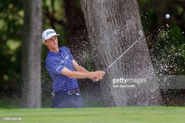 Will Zalatoris hits out of the green side bunker on during the first round of the Charles Schwab Challenge on May 27, 2021 at Colonial Country Club...