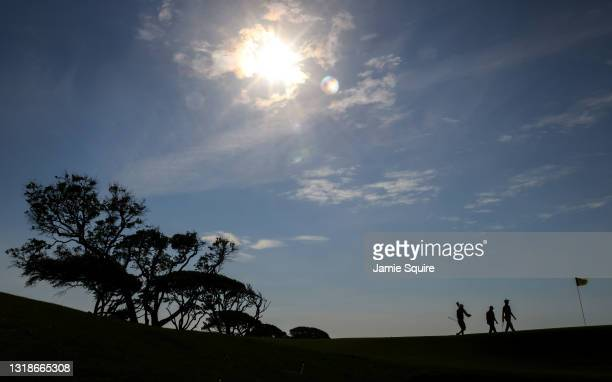 Will Zalatoris of the United States walks on the seventh hole during a practice round prior to the 2021 PGA Championship at Kiawah Island Resort's...