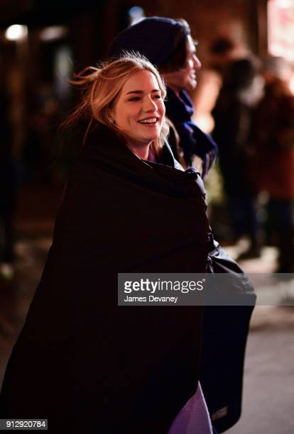 Willa Fitzgerald seen on location for The Goldfinch in Greenwich Village on January 31 2018 in New York City