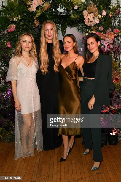 Willa Fitzgerald wearing Olivia von Halle Designer Olivia von Halle Arielle Kebbel wearing Olivia von Halle and Torrey DeVitto attend the Olivia von...