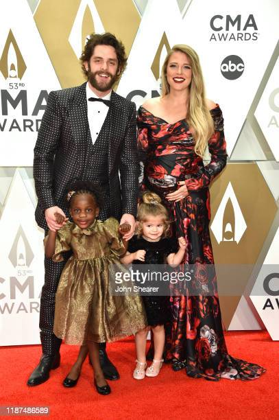 Willa Gray Akins Thomas Rhett Ada James Akins and Lauren Akins attend the 53rd annual CMA Awards at the Music City Center on November 13 2019 in...