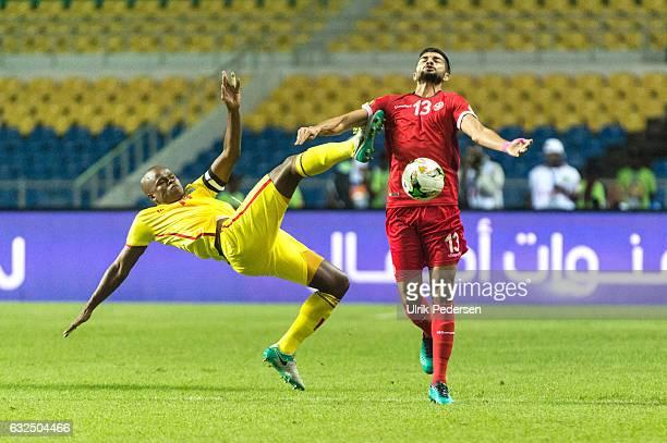 Willard Katsande of Zimbabwe and Ferjani Sassi of Tunisia battle during the African Nations Cup match between Zimbabwe and Tunisia on January 23 2017...