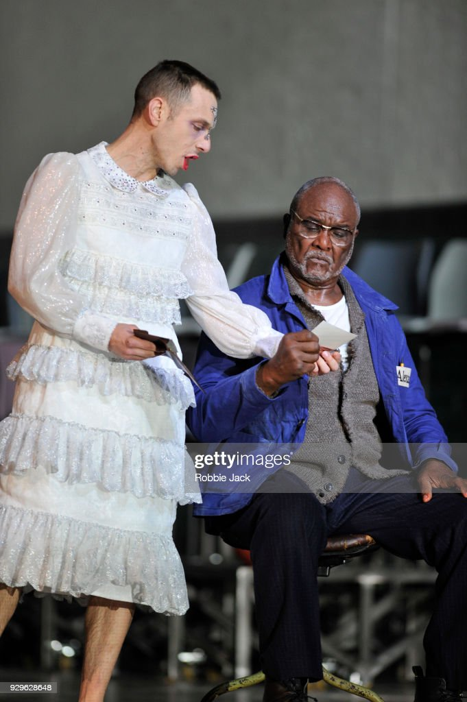 Willard W. White as Alexandr Petrovic Gorjancikov and Pascal Charbonneau as Aljeja in the Royal Opera's production of Leos Janacek's From the House of the Dead directed by Krzysztof Warlikowski and conducted by Mark Wigglesworth at the Royal Opera House on March 6, 2018 in London, England.
