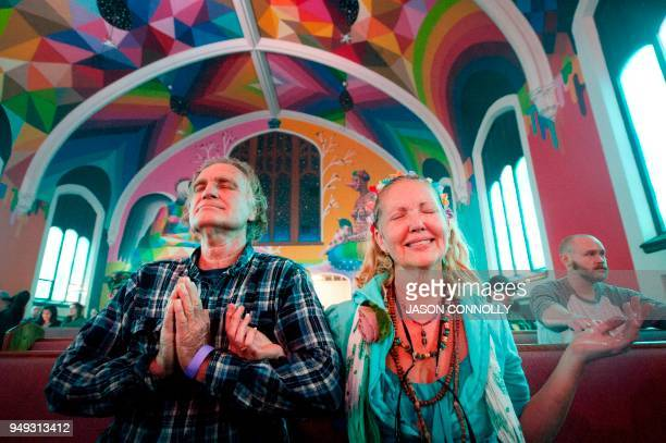 WillE of Joplin Missouri and Kathleen Yvonne of Fayeteville Arkansas members of the International Church of Cannabis participate in a 4/20...