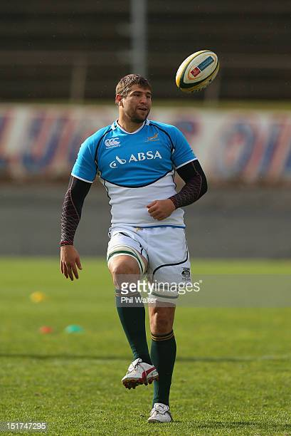 Willem Alberts of South Africa warms up during a South African Springboks training session at Western Springs Stadium on September 11 2012 in...
