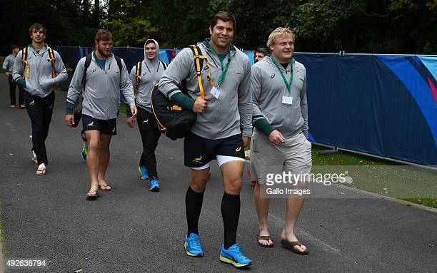 Willem Alberts with Adriaan Strauss during the South African national rugby team training session at Pennyhill Park on October 14 2015 in London...