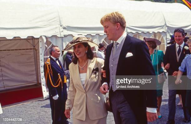 Willem Alexander Prince of Orange Nassau at the wedding of Princess Alexandra zu Sayn Wittgenstein Sayn and Prince Carl Eugen zu Oettingen and...