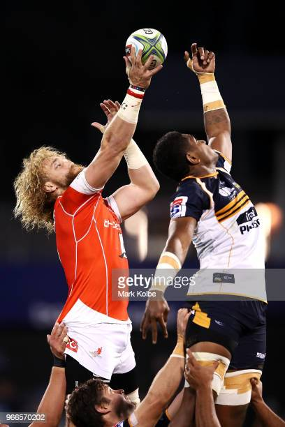 Willem Britz of the Sunwolves wins the lineout during the round 16 Super Rugby match between the Brumbies and the Sunwolves at GIO Stadium Stadium on...
