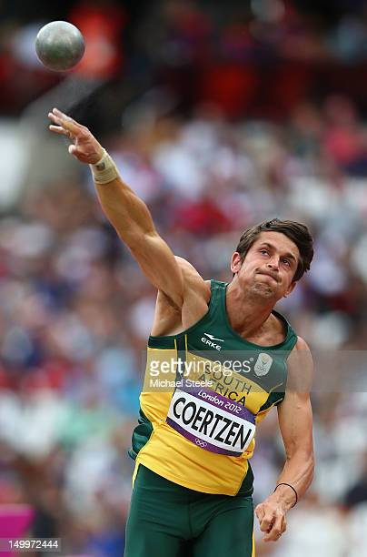 Willem Coertzen of South Africa competes in the Men's Decathlon Shot Put on Day 12 of the London 2012 Olympic Games at Olympic Stadium on August 8...