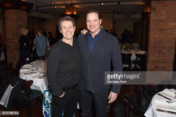 Willem Defoe and Brendan Fraser attend the jury welcome lunch at Tribeca Grill Loft on April 20 2017 in New York City