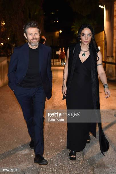 Willem Dafoe and Giada Colagrande attend the red carpet of the closing night of the Taormina Film Festival on July 19 2020 in Taormina Italy
