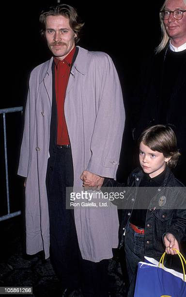 Willem DaFoe and Jack DaFoe during Oliver Company Premiere November 13 1988 at Ziegfeld Theater in New York City NY United States
