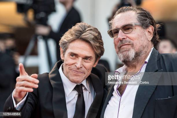 Willem Dafoe and Julian Schnabel walk the red carpet ahead of the Award Ceremony during the 75th Venice Film Festival at Sala Grande on September 8...