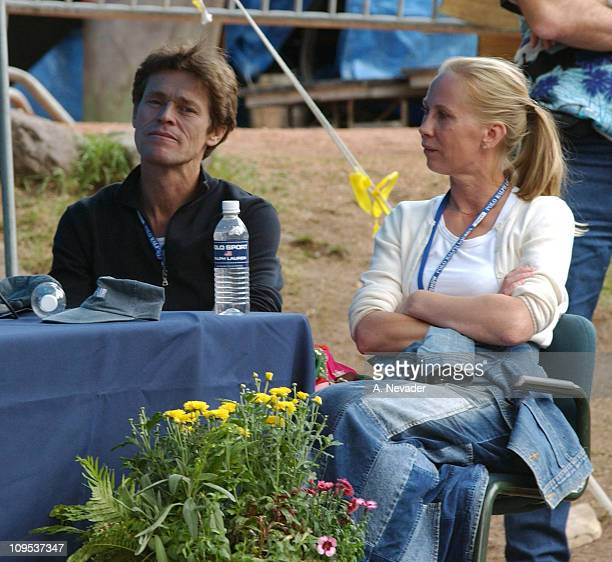 Willem Dafoe and Kati Outinen during 2002 Telluride Film FestivalA Seminar with Writers and Actors at Elks Park in Telluride Colorado United States