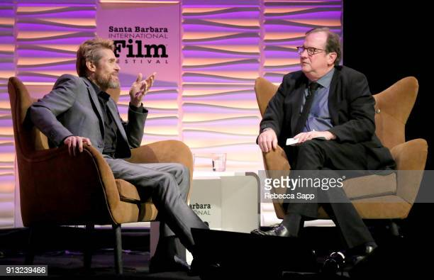Willem Dafoe and Pete Hammond onstage at the Cinema Vanguard Award Honoring Willem Dafoe during The 33rd Santa Barbara International Film Festival at...