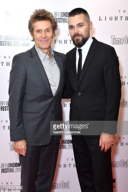 Willem Dafoe and Robert Eggers attend The Lighthouse UK Premiere during the 63rd BFI London Film Festival at the Odeon Luxe Leicester Square on...