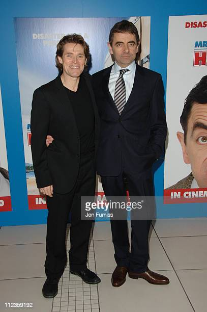 Willem Dafoe and Rowan Atkinson during 'Mr Bean's Holiday' London Charity Premiere Inside Arrivals at Odeon Leicester Square in London Great Britain