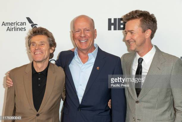 Willem Dafoe Bruce Willis Edward Norton attend Motherless Brooklyn premiere during 57th New York Film Festival at Alice Tully Hall
