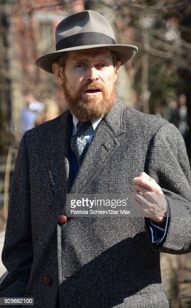 Willem Dafoe is seen on the set of 'Motherless Brooklyn' on February 28 2018 in New York City