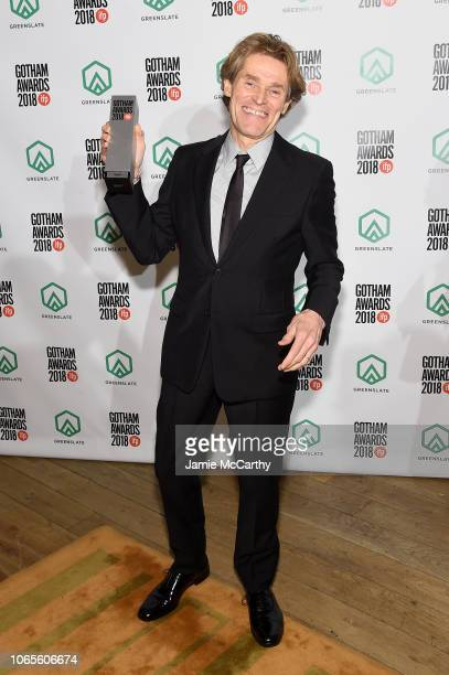 Willem Dafoe poses backstage durinig IFP's 28th Annual Gotham Independent Film Awards at Cipriani Wall Street on November 26 2018 in New York City