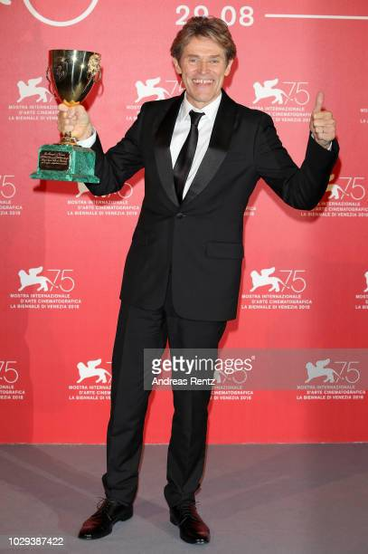 Willem Dafoe poses with the Coppa Volpi for Best Actor for 'At Eternity's Gate' at the Winners Photocall during the 75th Venice Film Festival at Sala...