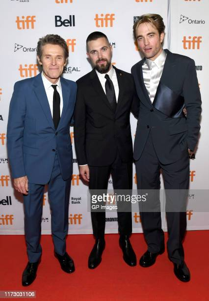 Willem Dafoe Robert Eggers and Robert Pattinson attend The Lighthouse premiere during the 2019 Toronto International Film Festival at Ryerson Theatre...