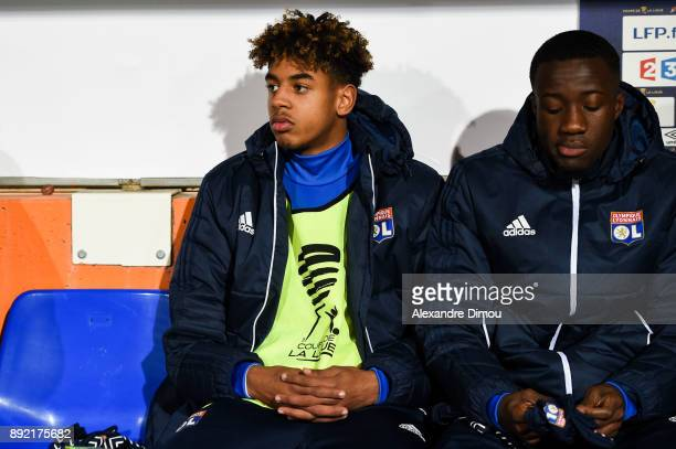 Willem Geubbels and Elisha Owusu of Lyon during the french League Cup match Round of 16 between Montpellier and Lyon on December 13 2017 in...
