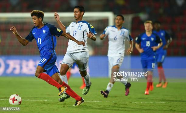 Willem Geubbels of France and Everson Lopez of Honduras in action during the FIFA U17 World Cup India 2017 group E match between France and Honduras...