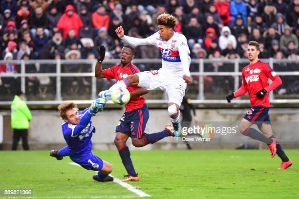 Willem Geubbels of Lyon sees his shot saved by Regis Gurtner of Amiens during the Ligue 1 match between Amiens SC and Olympique Lyonnais at Stade de...