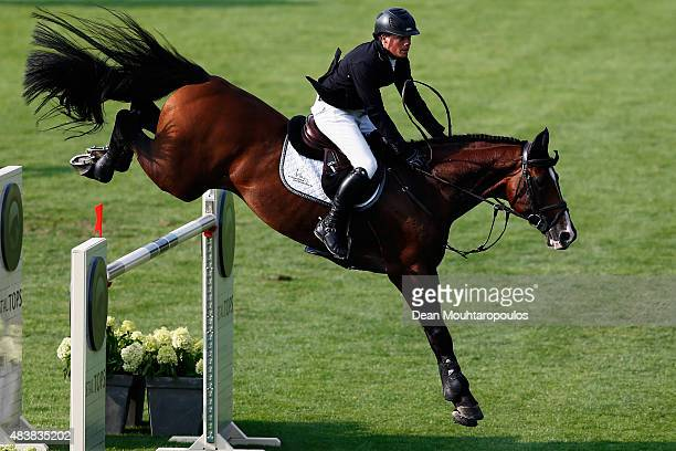 Willem Greve of the Netherlands riding Carambole NOP competes in the Class 02 CSI5* 150/155m Against the Clock with JumpOff during the Longines...