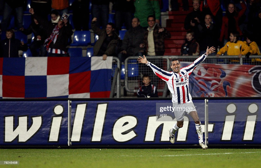 Willem II Tilburg's Mohamed Messoudi jubilates after his 1-0 against AZ Alkmaar, 25 January 2008 during their Dutch premier league match in Tilburg. AFP PHOTO / ANP PHOTO ROBERT VOS / netherlands out - belgium out
