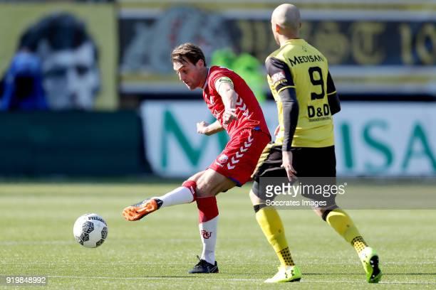 Willem Janssen of FC Utrecht, Dani Schahin of Roda JC during the Dutch Eredivisie match between Roda JC v FC Utrecht at the Parkstad Limburg Stadium...