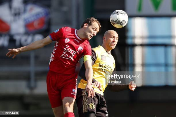 Willem Janssen of FC Utrecht, Dani Schahin of Roda JC during the Dutch Eredivisie match between Roda JC Kerkrade and FC Utrecht at the Parkstad...