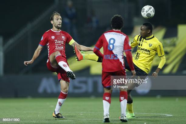 Willem Janssen of FC Utrecht Yassin Ayoub of FC Utrecht Kelechi Nwakali of VVV Venlo during the Second Round Dutch Cup match between VVVVenlo and FC...