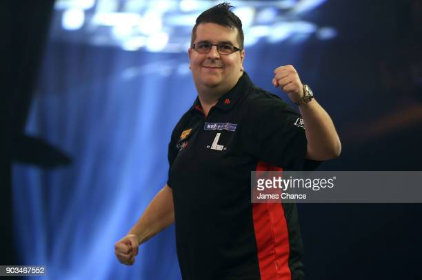 Willem Mandigers of the Netherlands celebrates during Day Four of the BDO World Darts Championship at Lakeside Shopping Centre on January 10 2018 in...