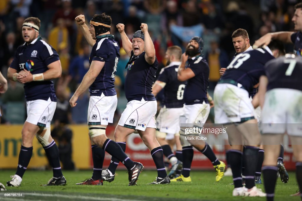 Willem Nell of Scotland and his team mates celebrate victory during the International Test match between the Australian Wallabies and Scotland at Allianz Stadium on June 17, 2017 in Sydney, Australia.