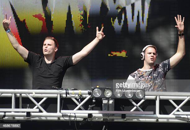 Willem van Hanegem and Wardt van der Harst of WW perform during the Ultra Music Festival at Bayfront Park Amphitheater on March 28 2015 in Miami...