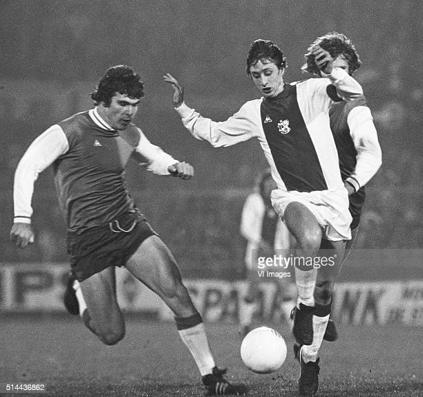 Willem van Hanegem of Feyenoord Johan Cruijff of Ajax during the match between Ajax Amsterdam and Feyenoord om March 3 1973 at the olympic stadium in...