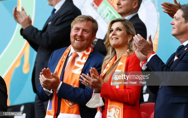 Willem-Alexander, King of the Netherlands and Queen Maxima of the Netherlands applaud prior to the UEFA Euro 2020 Championship Group C match between...