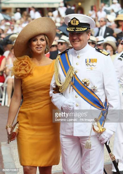 WillemAlexander Prince of Orange and Princess Maxima arriving for the wedding of Prince Albert II of Monaco and Charlene Wittstock at the Place du...