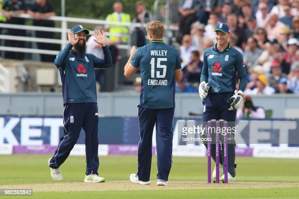 Willey celebrates with England teammates after he takes the wicket of Michael Neser during the 4th Royal London ODI at Emirates Durham ICG on June 21...