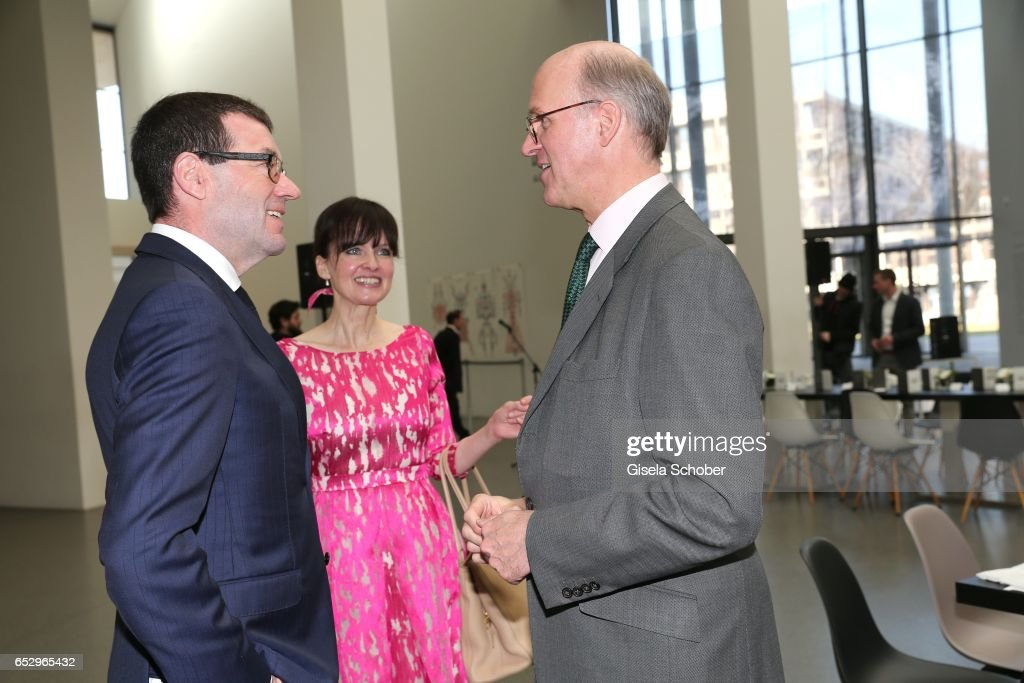Willi Bonke, CEO of Premium Cars Rosenheim, Sonja Lechner and Joachim Graf von Arnim during the Gentlemen Art Lunch at Pinakothek der Moderne on March 13, 2017 in Munich, Germany.