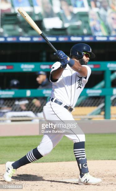 Willi Castro of the Detroit Tigers bats against the Cleveland Indians at Comerica Park on September 20 in Detroit Michigan