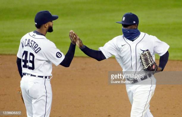 Willi Castro of the Detroit Tigers celebrates with Daz Cameron after a 52 win over the Cleveland Indians at Comerica Park on September 19 in Detroit...