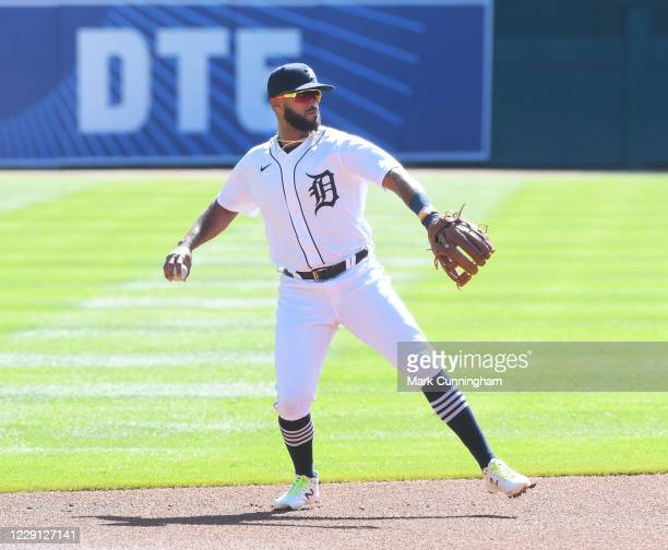 Willi Castro of the Detroit Tigers fields during the game against the Cleveland Indians at Comerica Park on September 20 2020 in Detroit Michigan The...